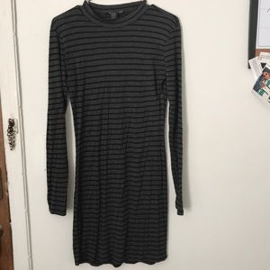 Stripped, Long Sleeve,Tight-fitted Cotton Dress